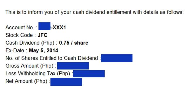 cash dividend JFC