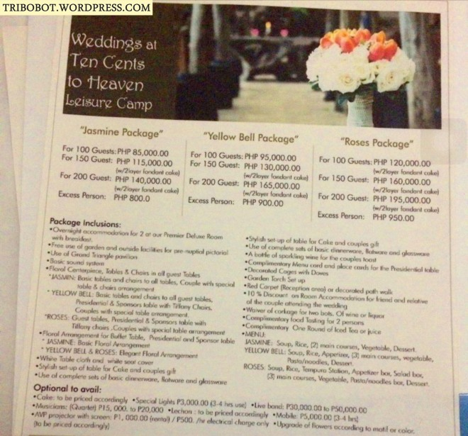 10 Cents to Heaven Wedding Package and Rates