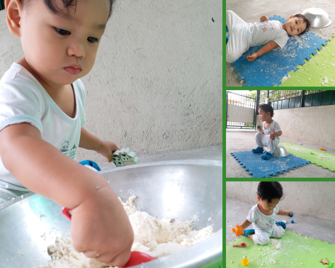 Get your Toddler Busy with Sensory Play using DIY Moon Sand (www.tribobot.com)